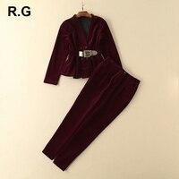 RG элегантный бархатный блейзер, брюки, костюмы, комплект брендового дизайнера, деловая офисная одежда, женский пиджак и брюки, костюм, 2 пред