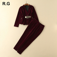 RG Elegant Velvet Blazer Trousers Suits Set Brand Designer Business Office Wear Women Jacket and Pants Suit 2 Piece Sets 2018