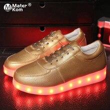 حذاء رياضي مضيء بإضاءة LED مقاس 30 44 حذاء خفيف غير رسمي للأطفال حذاء تنس سلة للركض حذاء رياضي متوهج ذهبي وفضي