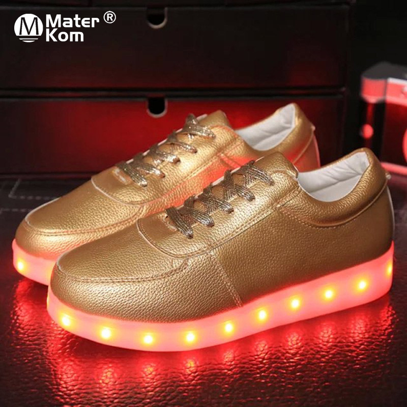 Size 30-44 LED Luminous Sneakers Children Casual Light Up Shoes For Kids Tenis Basket Chaussures Glowing Sneakers Gold&Silver