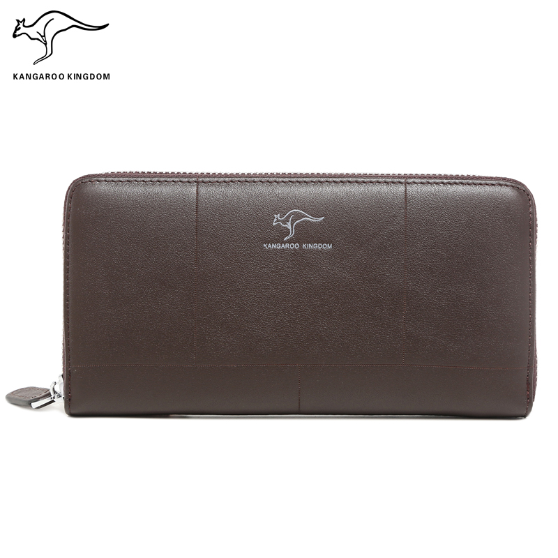KANGAROO KINGDOM luxury brand men wallets genuine leather long zipper clutch purse business male card holder wallet