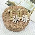 """Hot Sale Women's Fashion Korea Import Daisy Letter """"D"""" Decor Stud Earrings Fashion Free Drop Ship Jewelry Supplier"""