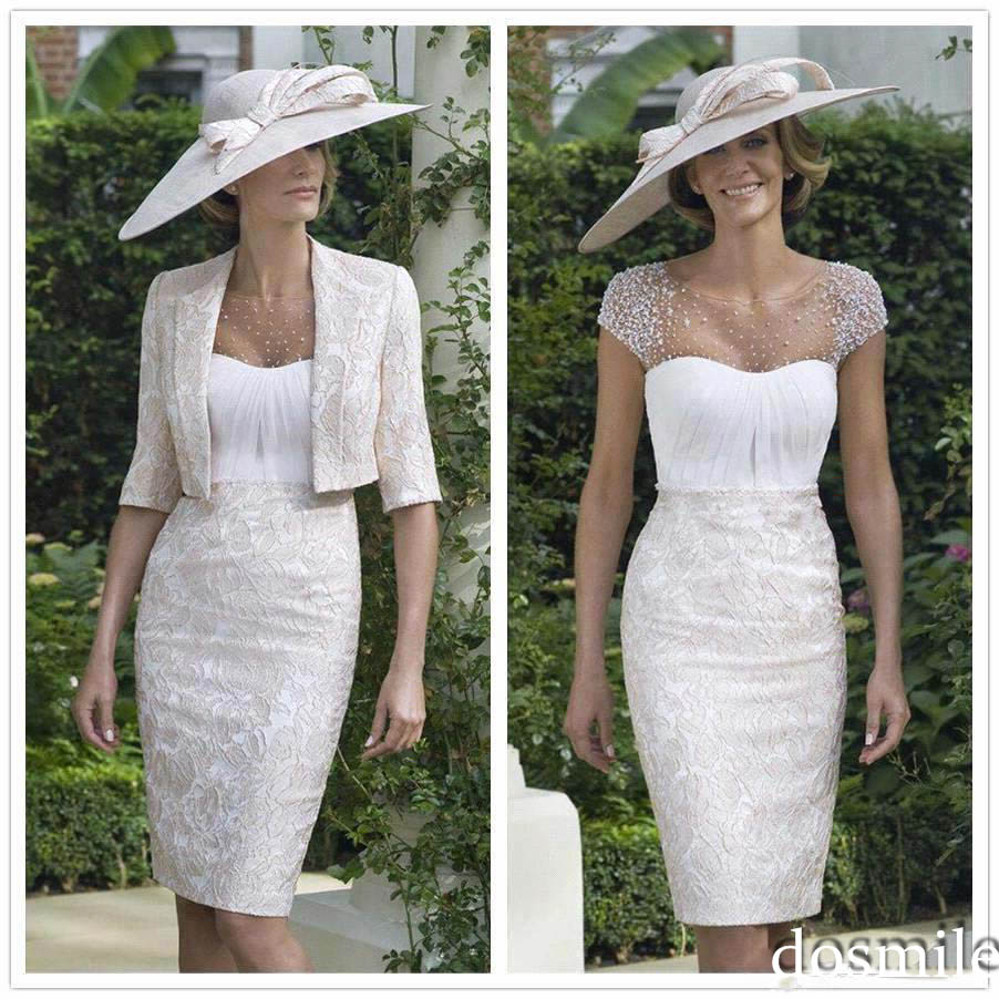 Elegant Lace Sleeve Short Wedding Dresses 2016 Scoop Neck: 2016 White Elegant Lace Knee Length Sheer Scoop Neck Short