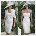 2016 white Elegant Lace Knee Length Sheer scoop Neck short Sleeve Mother Dresses sexy Mother Of The Bride Dresses With Jacket