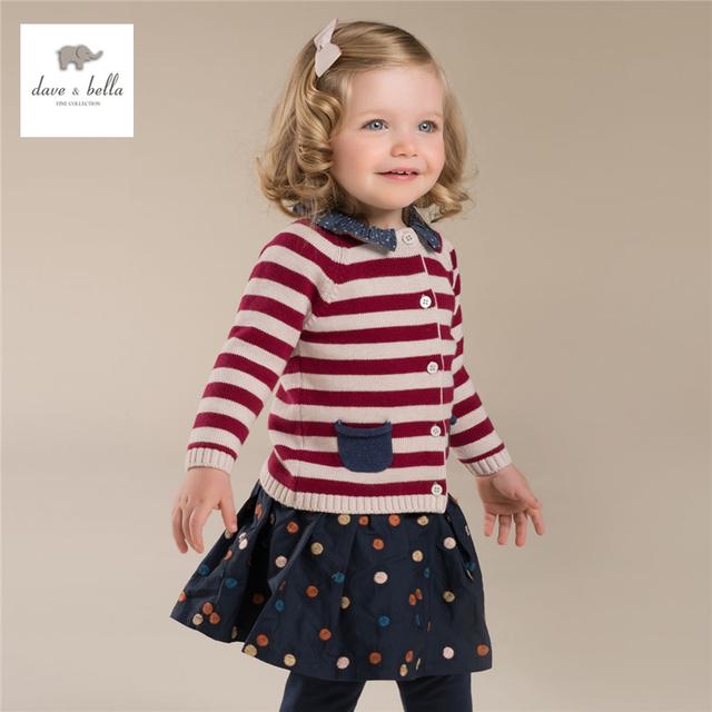 DB4043-G dave bella otoño rojo niña suéter chaqueta de punto a rayas suéter de las muchachas con cuello desmontable de Navidad