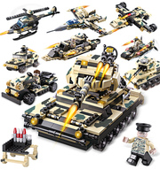 Cogo 8 In 1 DIY Block Military Tank Eductional Building Blocks Sets Army Tank Vehicle SUV