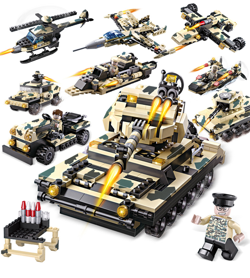 Cogo 8 in 1 DIY Block Military Tank eductional Building Blocks Sets Army Tank Vehicle SUV Aircraft Children DIY Kids Toys kazi military building blocks army brick block brinquedos toys for kids tanks helicopter aircraft vehicle tank truck car model