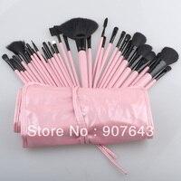 Pro 32 Pcs Pink Makeup Brush Cosmetic Set Eyeshadow Powder Brush Brushes Case Free Shipping