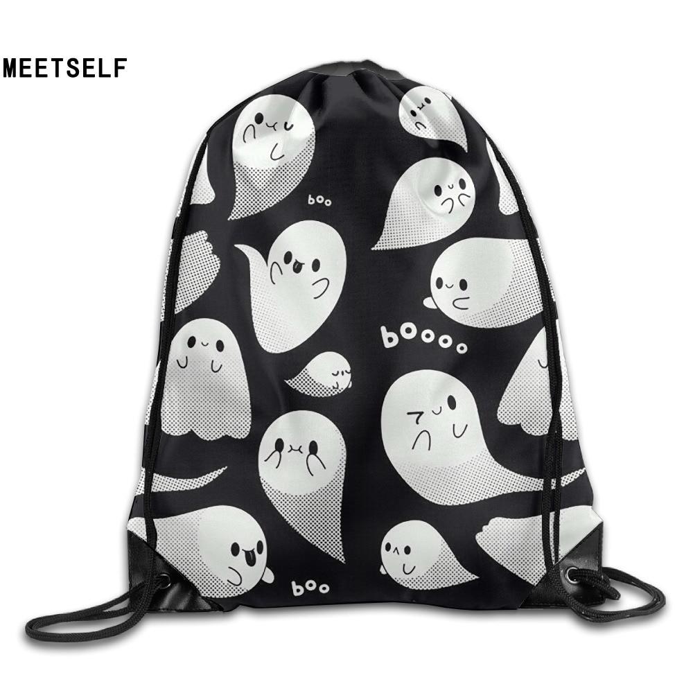 Samcustom 3d Print Cute Ghost Shoulders Bag Women Fabric Backpack Girls Beam Port Drawstring Travel Shoes Dust Storage Bags