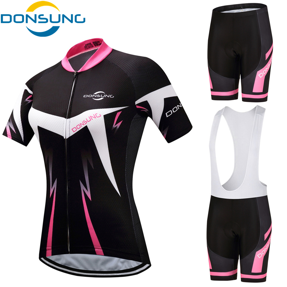 DONSUNG Cycling Set Team Pro Cycling Jersey 3D Pad Bike Shorts Set For Women MTB Ropa Ciclismo Summer Bicycling Maillot Wears