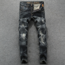 American Street Style Fashion Men Jeans Vintage Black Gray Slim Fit Embroidery Ripped Jeans homme Brand Design Hip Hop Jeans Men цены онлайн
