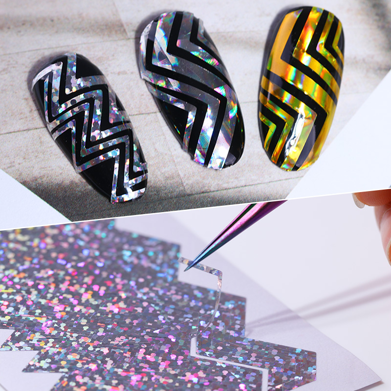 Holo Sawtooth Stripe Tape 3D Nail Sticker Laser Wave Line Ultra-thin Manicure Foil Decal Decorations born pretty 6 sheets 3d adhesive holo nail sticker ultra thin laser line candy nail foil decal