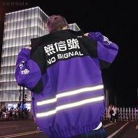 VERSMA Japanese Harajuku BF Fashion Reflective Jacket Coat Men Punk Hip Hop Streetwear Vintage Jacket Mens Clothing Dropshipping