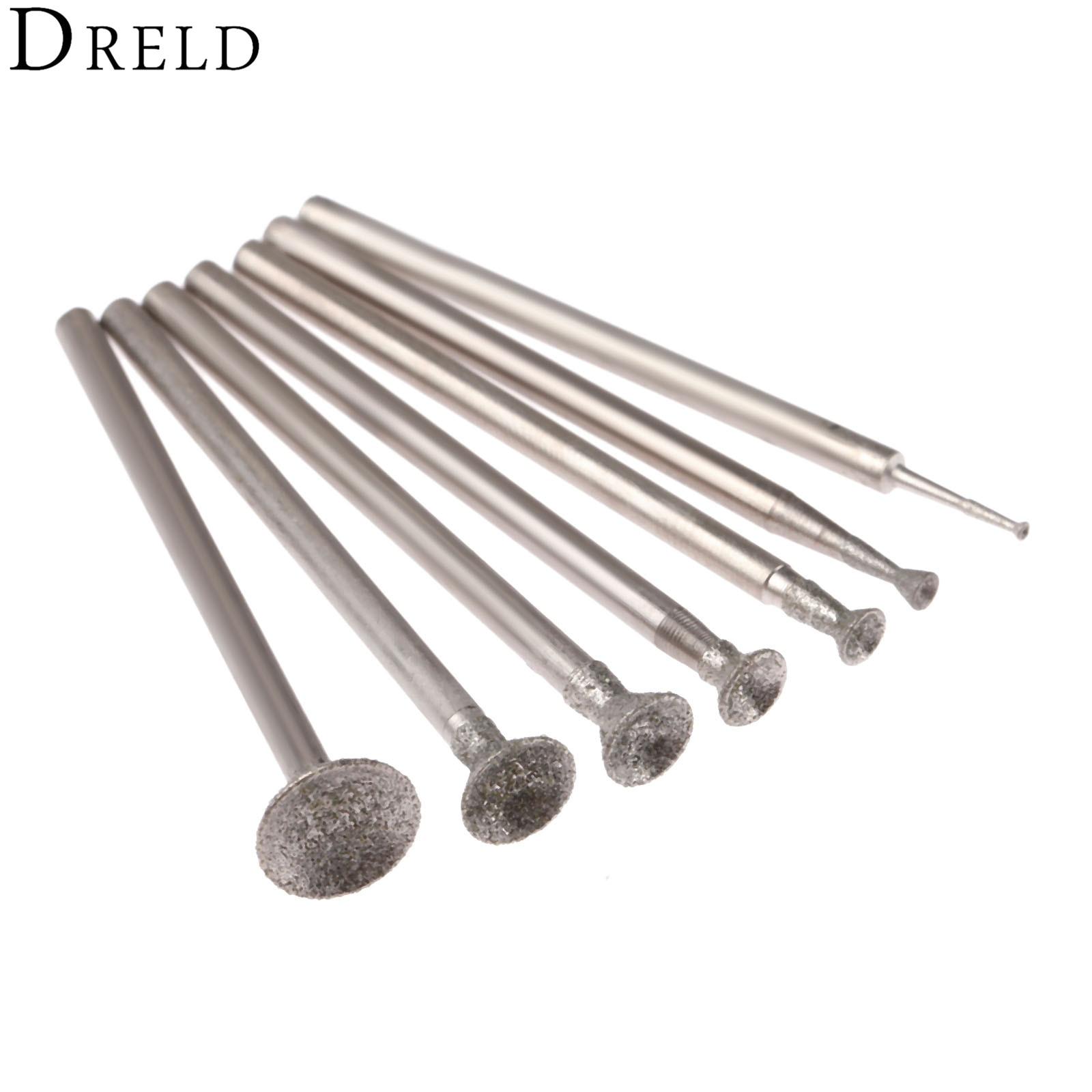 Dreld 7 pces 1-8mm cabeça de moagem de diamante montado pontos 2.35mm haste esférica côncava jade carving rebarbas para dremel ferramenta rotativa