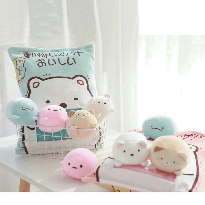 4pcs/8pcs Stuffed Cartoon Cat Penguin Stuffed Toys In A Plush Pillow Animals Toy Japanese Cat Bear Creative Toys For Children