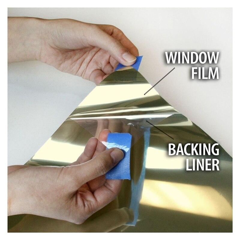 HOHOFILM 76cm x 1000cm or et argent miroir fenêtre Film réfléchissant fenêtre teinte verre maison bureau UV preuve Film verre autocollant