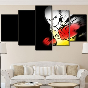 Home Decoration Canvas Art Anime 5 Pieces Paintings One Punch Man Saitama Poster Framework For Unique Modern Wall Art Poster