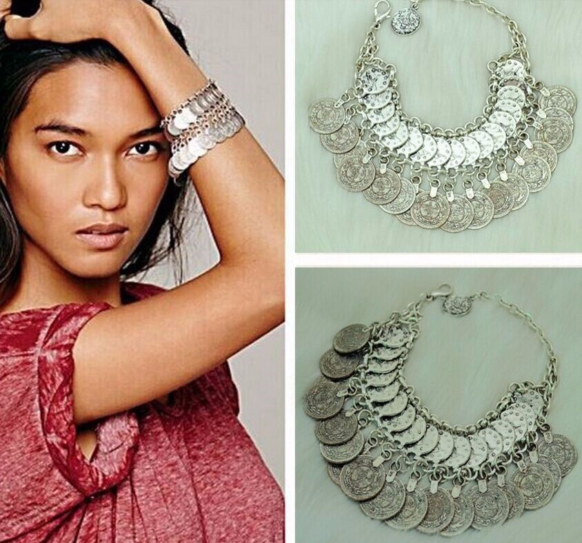 Bohemian Antalya Coin Bracelets Bangles Silver Gypsy Boho Coachella Festival Turkish Jewelry Tribal Ethnic Statement Jewelry