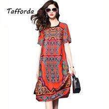 c850338343 Tafforda New Fashion 2018 New Red Vintage Print Silk Dress Women In The  Atmosphere of Loose Silk Dress Female Summer