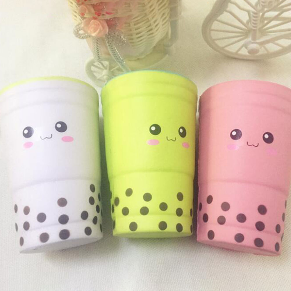 Cute Scented Pearl Milk Cup Squeeze Healing Slow Rising Soft Stress Relief Toy Phone Straps Keychain Gift Craft Decor