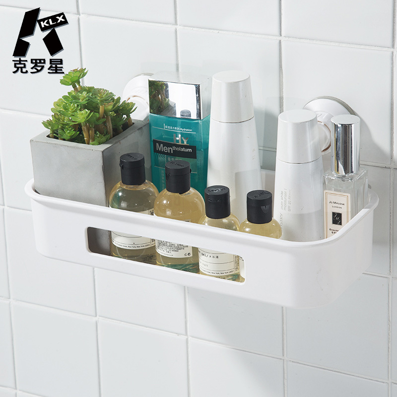 KLX High Quality Bathroom Vacuum Strong Suction Cup Shelf Kitchen Punch Free No Trace Spice Rack Home Storage Makeup Organizer
