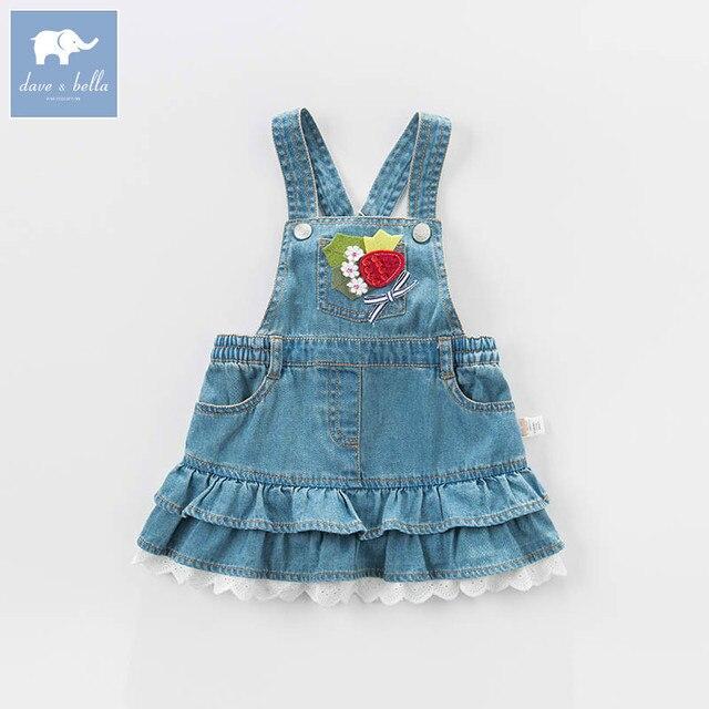 Dave bella bahar bebek bebek kızın kot elbise moda kemerli elbise doğum günü jartiyer elbise yürüyor çocuk giysileri