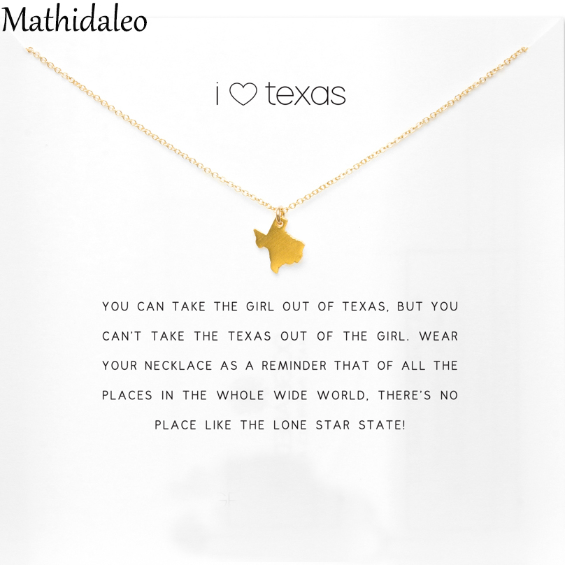 I Love Texas Necklace Gold Color Pendant Necklace Clavicle S