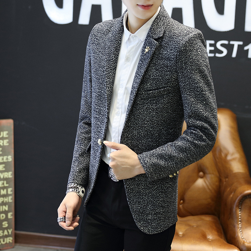 New Mens Blazer Suits Quality Fashion Blazers Slim Fit Woolen Outwear Top Coat Costume Homme Dropshipping Brand Clothes