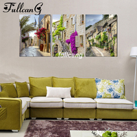 FULLCANG Full Square Diamond Embroidery Town Scenery Diy 5D Diamond Painting Cross Stitch Triptych Mosaic Arts