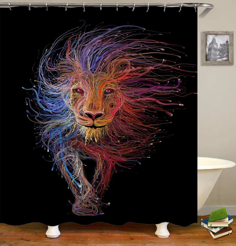 Image 5 - VOZRO 2 M Quality Proof 3d bathroom duschvorhang Manufacturing Lion pattern shower curtain douchegordijn pascoa cortina banheiro-in Shower Curtains from Home & Garden