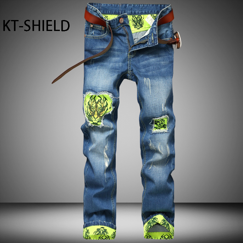 biker jeans men ripped pants fashion Printed Slim Straight Denim full length trousers hombre Casual Harem Cargo elastic Vaqueros 2017 fashion patch jeans men slim straight denim jeans ripped trousers new famous brand biker jeans logo mens zipper jeans 604