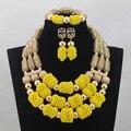 Великолепный Желтый Африканский Мода Ювелирные Наборы Золото Дубай Свадебные Кристалл Бисера Комплект Ювелирных Изделий Hot Бесплатная Доставка WD596