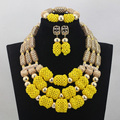 Gorgeous Yellow African Fashion Jewellery Sets Gold Dubai Wedding Bridal Crystal Bead Jewelry Set Hot Free Shipping WD596