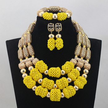 Gorgeous Yellow African Fashion Jewellery Sets Gold Dubai Wedding Bridal Crystal Bead Jewelry Set Hot Free Shipping WD596