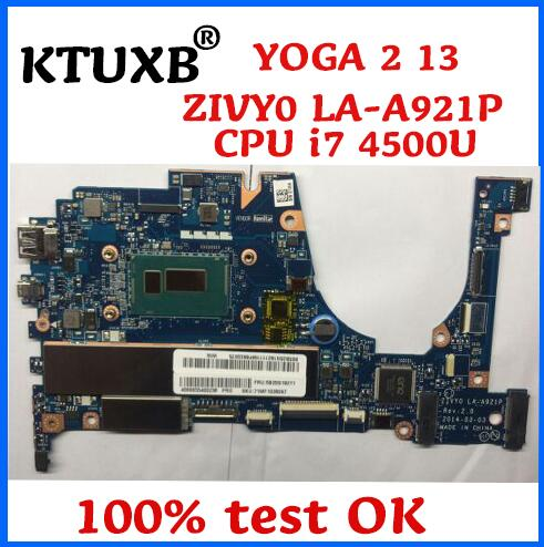 KTUXB ZIVY0 LA A921P motherboard for Lenovo YOGA 2 13 notebook motherboard CPU i7 4500U 8G