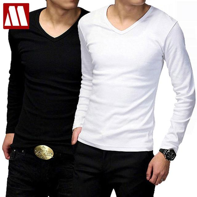 1ff30d4b9c2a 2019 Spring Autumn Mens V neck Tops Tees Men s long sleeve T-shirt slim fit