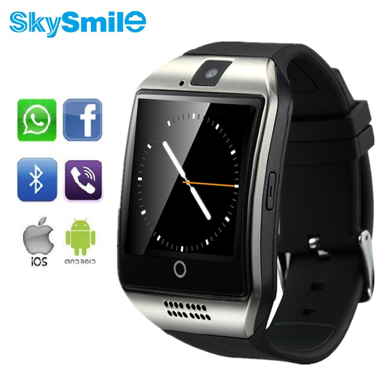 SkySmile Q18 Smart Watch Bluetooth NFC Smartwatch Android Pour Apple IPhone6 Intelligence Horloge Sync SMS Whatsapp SIM TF Carte Cam