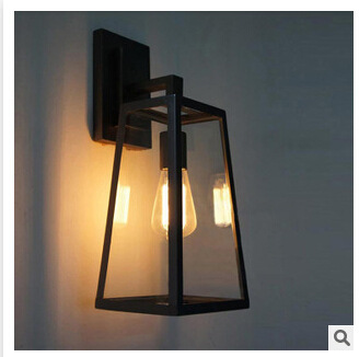 American Industral Vintage Loft Style Wrought Iron And Clear Glass Wall Lamp Asile Light Bedroom Light Free Shipping loft american edison vintage industry crystal glass box wall lamp cafe bar coffee shop hall store club