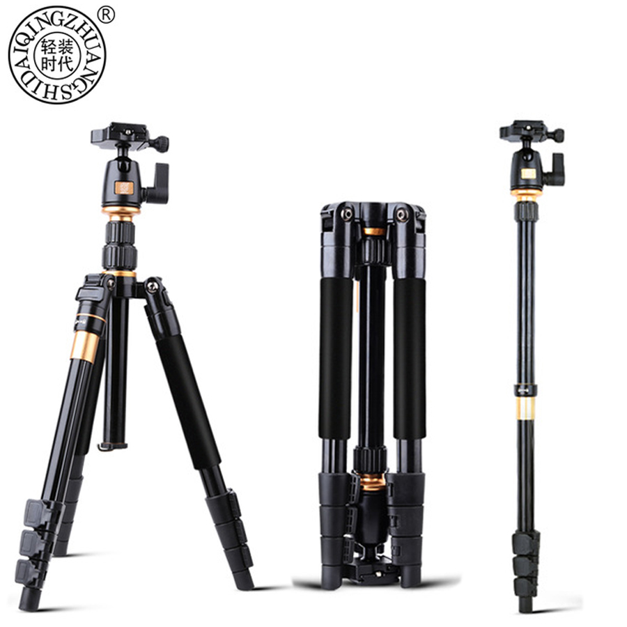 QZSD Camera Tripod Q555 Aluminium Alloy Camera Video Monopod Professional Extendable Tripod With Quick Release Plate Stand bt 158 aluminium alloy 1460mm camera video monopod professional extendable tripod slr dslr holder stand with carry bag