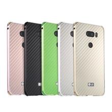 For LG V 30 Case Luxury Aluminum Metal Frame Bumper V30 Carbon Fiber Back Cover for 6.0