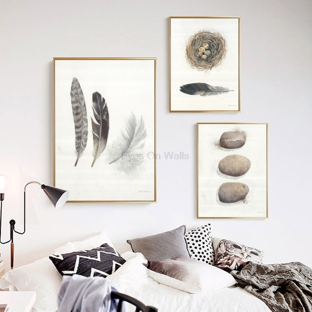 No Frame Feather Poster Scandinavian Stone Canvas Painting For Living Room Bird's Nest Wall Picture Art Print Modern Home Decor