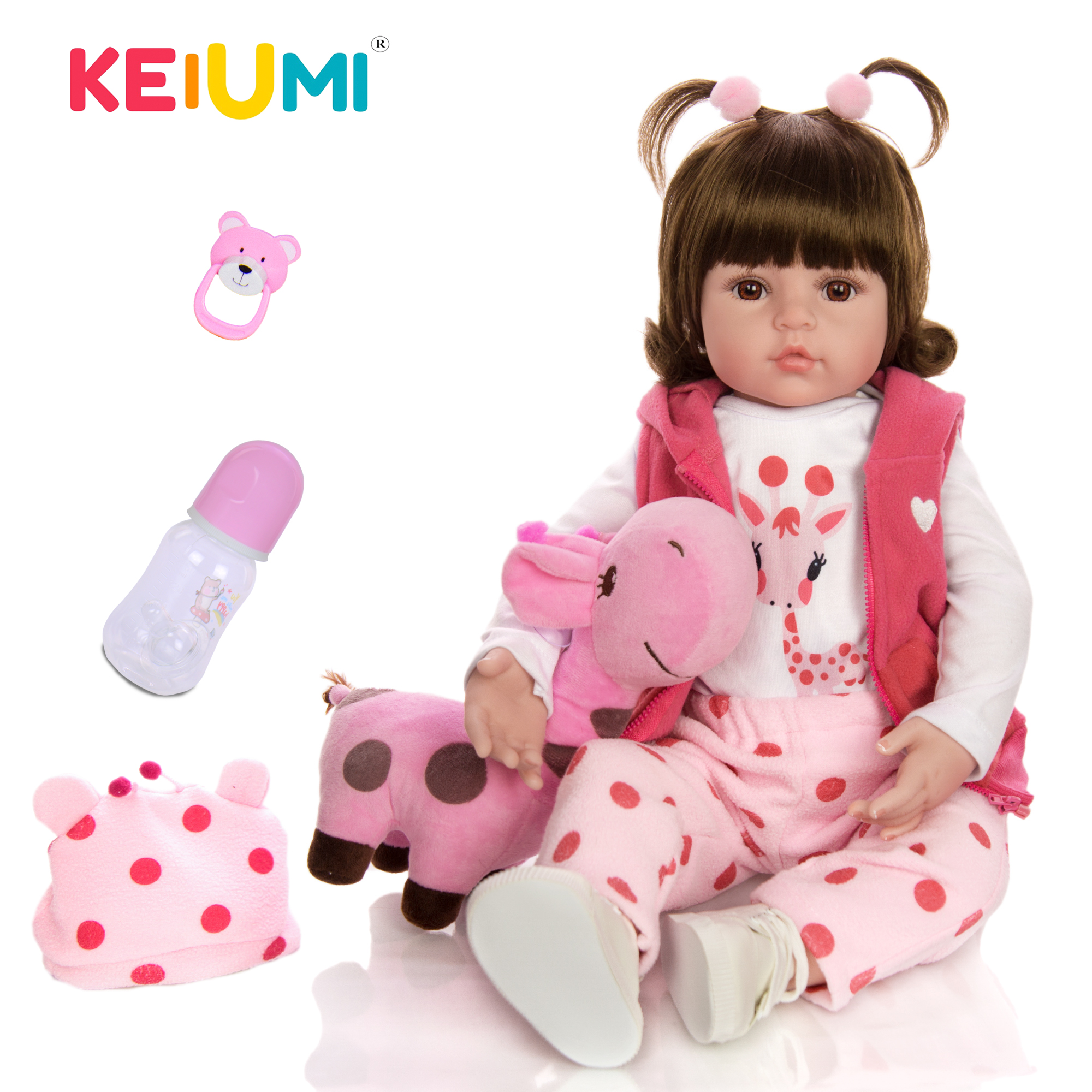 KEIUMI Hot Sale Reborn Baby Doll Toy Cloth Body Stuffed Realistic Baby Doll With Giraffe Toddler