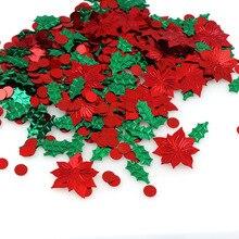 15 กรัมสีผสมพลาสติกคริสต์มาสสีเขียวใบสีแดงดอกไม้ Confetti Tinfoil Sequins คริสต์มาสของขวัญตกแต่ง