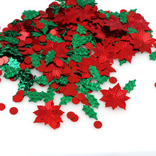 15g Mix Color Plastic Christmas Green Leaf Red Flower Confetti Tinfoil Sequins Christmas Gift Table Decorations