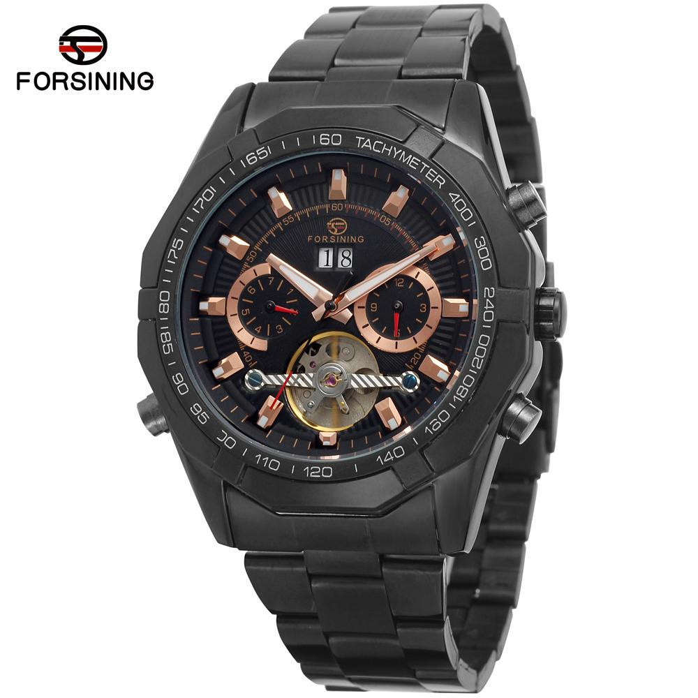 Forsining Men's Watch New High End Brand Luxury Automatic Stainless Steel Bracelet Vogue Mechanical Wristwatch Color Black Hour ultra luxury 2 3 5 modes german motor watch winder white color wooden black pu leater inside automatic watch winder