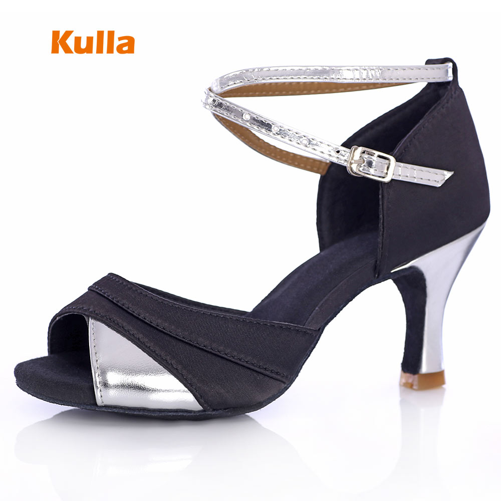 Hot KULLA Black+Sliver Heel Ballroom Tango Latin Dance Shoes For Women Dancing Salsa Shoes High-heeled Soft Outsole Party Shoes