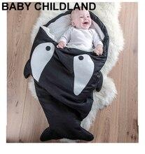 Requin de bande dessinée bébé couvertures Nouveau-nés D'hiver Poussettes Lit Swaddle Blanket Wrap Literie bébé emmaillotage couchage couverture