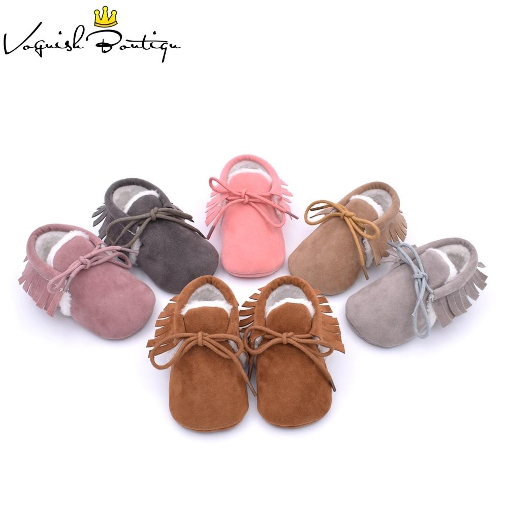 Baby girls soft fur moccasins fringe first walkers non-slip footwear shoes baby schoenen