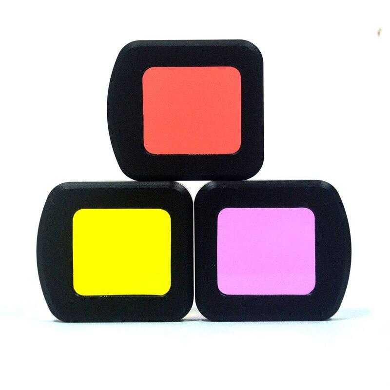 3 pcs/lot coque étanche plongée couleur filtre rouge jaune violet UV miroir pour SJCAM SJ8 AIR PRO PLUS