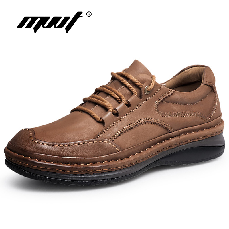 MVVT Winter Retro Men Boots Top Quality Genuine Leather Boots Men Winter Ankle Boots Fashion Platform Men Shoes